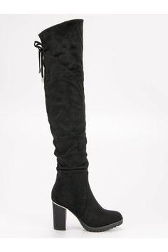 Módne čierne čižmy na opätku SDS Knee Boots, Platform, Heels, Fashion, Wedge, Moda, La Mode, Shoes High Heels, Fasion
