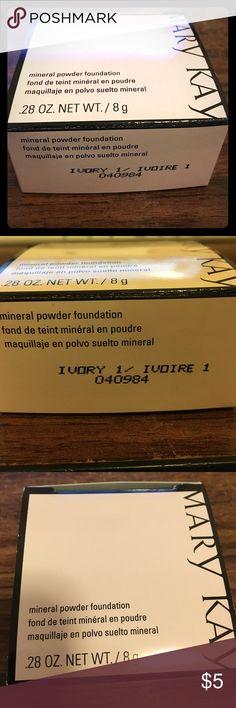 MARY KAY mineral powder foundation - ivory 1 Ivory 1 Mary Kay mineral powder foundation.  New.  Unopened/unused.  Authenticity guaranteed! Mary Kay Makeup Foundation
