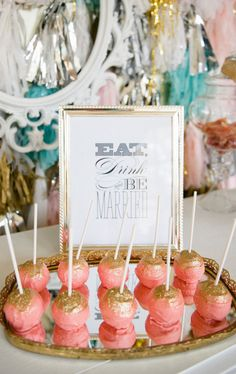 pink and gold cake pops, cute for bridal shower. I know that Monique actually makes cake pops. Love the pink and gold color scheme