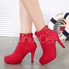 Trendy Suede and Buckles Design Women's Short Boots