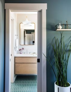 tiles in Flagstone in this serene bathroom. Blue and green bathroom decor. Serene Bathroom, Bathroom Interior, Modern Bathroom, Minimalist Bathroom, Flagstone Tile, Fireclay Tile, Brick Tiles, Color Tile, Bathroom Inspiration