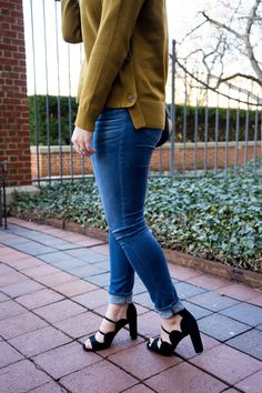 spring outfits / scallop heels / coach saddlebag / mustard sweater / madewell - Maggie a la Mode