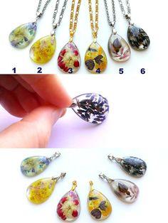 Real Flower Pendant-Tear Drop-Transparent Resin Drop от Galiga