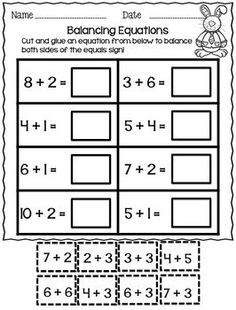 Balancing Equations - Addition and Subtraction by First Grade Friendly Frogs Teaching First Grade, First Grade Classroom, 1st Grade Math, Second Grade, Math Worksheets, Math Resources, Addition Worksheets, Equivalent Expressions, Balancing Equations