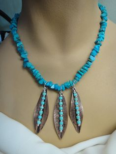 Copper and Turquoise Leaf Necklace and Earring by GumboCreations, $65.00