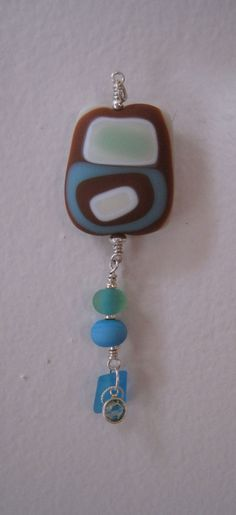 Holiday Gift Modern art glass pendant fused etched glass art pendant and sterling silver.