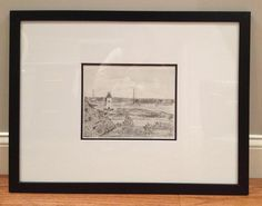 Rachel D mats and frames her original drawing!  Great look with the wide matting.