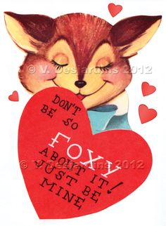 Print It Yourself Valentine Vintage Fox. $1.50, via Etsy.