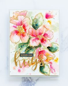 Watercoloured Hibiscus handmade card by Debby Hughes using the Altenew Hibiscus Burst stamp set and Rose Gold embossing powder. Watercolor Projects, Watercolor Cards, Floral Watercolor, Handmade Stamps, Greeting Cards Handmade, Cute Cards, Diy Cards, Card Making Inspiration, Making Ideas