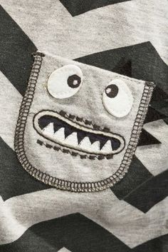 Buy Grey/Black Chevron Monster Pocket T-Shirt (3mths-6yrs) from the Next UK online shop
