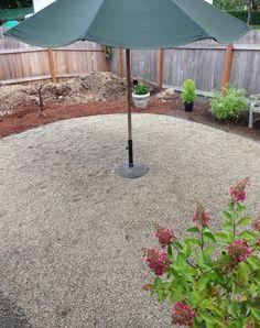 pea gravel patio progress