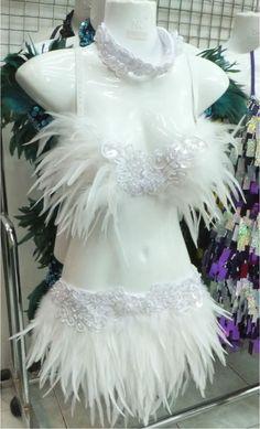 DaNeeNa FTR Feather Dance Drag Bra Skirt Bra Belt White Swan Costume