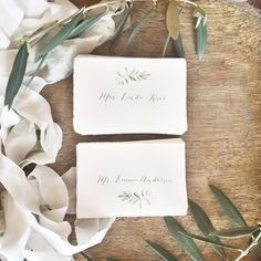 Wedding Olive Branch Watercolor Place Cards with Custom Meal Choices honey-paper.com #winecountrywedding #weddingdetails
