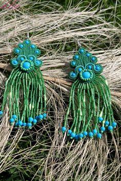 Sutasz Kleo /Soutache jewellery: Kolczyki sutasz Wiosenna Radość