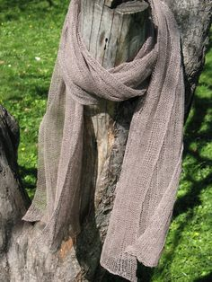 Linen Natural Grey Scarf Shawl Wrap Stole , Light, Transparent by Initasworks, $78.00