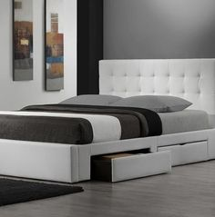 White leather bed with storage drawers underneath
