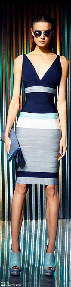Herve Leger by Max Azria Resort 2014--I have this in purple/pink, different neckline...but, they fit fabulously !!