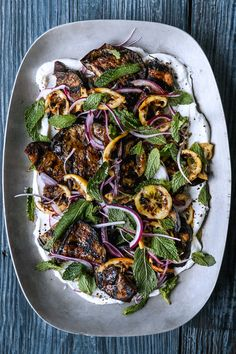 Use whatever eggplant looks most appealing; they should be firm to touch, with glossy skin. Small globe eggplants are easy to find, but this is terrific time to use long Asian types, small round white ones or any of the cool-looking striped varieties. Vegetable Recipes, Vegetarian Recipes, Healthy Recipes, Best Eggplant Recipe, Grilling Recipes, Cooking Recipes, Healthy Grilling, Vegetarian Grilling, Side Dishes