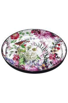 """Lightweight oval decoupage metal trays with built-in handles. They're both beautiful and practical and easy to carry, easy to store, and a joy to use, both indoors and out.  Size: Medium - 16.3"""" x 12.8"""" x 1.3"""" / 41.4 cm x 32.5 cm x 3.3 cm"""
