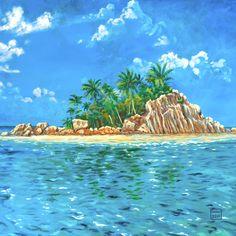 Wanddeko - Leinwanddruck Seychellen - ein Designerstück von LeinwandKacheln bei DaWanda