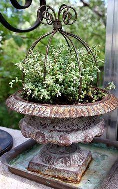 Urn with upside down iron flower pot holder.