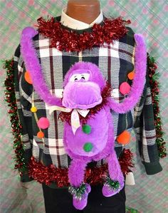 3D tacky ugly Christmas sweater purple monkey by NYinVogueVintage