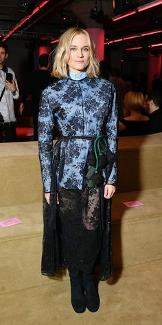 Diane Kruger attended Prada's Resort show while wearing a blue button-down blouse layered with a lace dress from the brand. Lace Skirt, Lace Dress, Dress Up, Tribeca Film Festival, Sequin Gown, Diane Kruger, Short Mini Dress, Latest Outfits, Star Fashion
