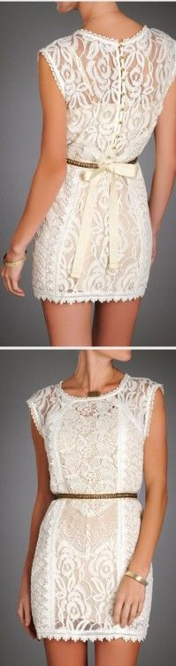 lace cream dress with strawberry champagne detailing