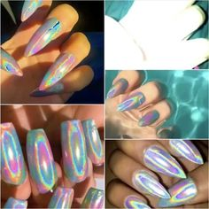 Opal Nails, Holographic Nails, Press On Nails, Love Makeup, Nail Trends, Nail Inspo, Lime Crime, Nail Ideas, Acrylic Nails