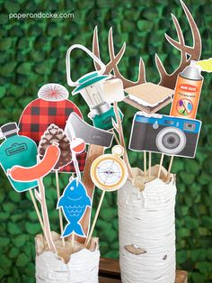Camping Printable PHOTO BOOTH PROPS beards, antlers, fishing pole - Editable Text >> Instant Download <<