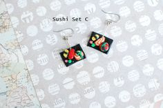 #Sushi Earring Sets by #KawaiiNomNoms on Etsy #sushi #tinyearrings #earrings #cute #kawaii
