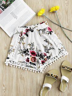 Impresión floral aleatoria de Pom Pom recorte Pantalones cortos
