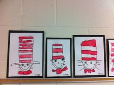 Directed Draw - Cat in the Hat - I love this idea! Especially if they didn't know what they were drawing at the start.