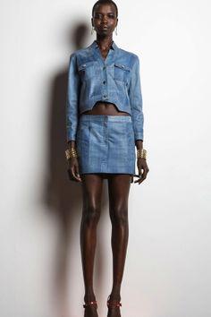 Veronica Beard Denim Leather Mini Skirt