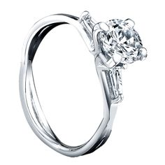 14k White Gold Round Solitaire with Tapered Baguettes - Morris Jewelry Company