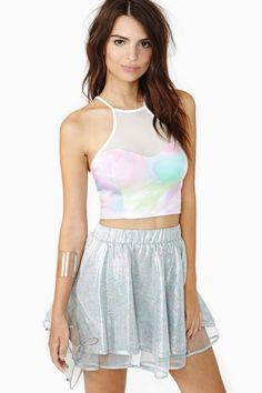 Pastel Mesh Crop Top & Mesh Skater Skirt