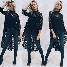 Find skull clothing and accessories for men and women Julissa MO Autumn... New items added daily http://rebelstreetclothing.com/products/julissa-mo-autumn-women-lace-irregular-blouse-sexy-hollow-out-crochet-front-short-back-long-top-fashion-american-street-wear-top