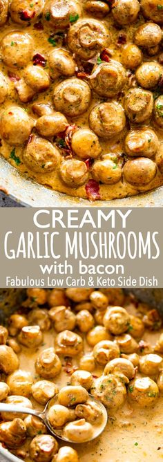 Deliciously Creamy Garlic Mushrooms with Bacon are a fabulous side dish prepared with butter garlic bacon and cream We love this easy delicious and quick dish that is also Low carb and Keto mushroomrecipes sauteedmushrooms sidedish via diethood Low Carb Side Dishes, Side Dishes Easy, Side Dish Recipes, Yummy Recipes, Garlic Recipes, Easy Vegetable Side Dishes, Ketogenic Side Dishes, Quick Food Recipes, Quick Keto Meals