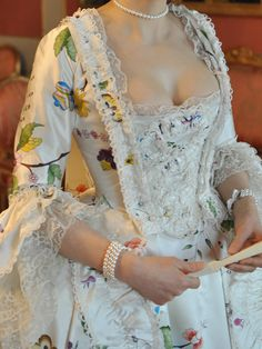 Close up of Hand painted robe à la Française, late 1750's to early 1770's | Before the Automobile