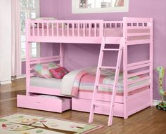 PINK TWIN OVER TWIN SOLID WOOD BUNK BED WITH STORAGE DRAWERS #bunkbed #pink #kidsbed #bedroom #bedforgirls #bed #girl #furniture #bedroomfurniture