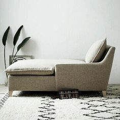 Masculine Linen Covered 'Pillow' Cushion Chaise Lounge.