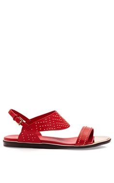 Studded Red Calf Flat Sandal by Nicholas Kirkwood for Preorder on Moda Operandi