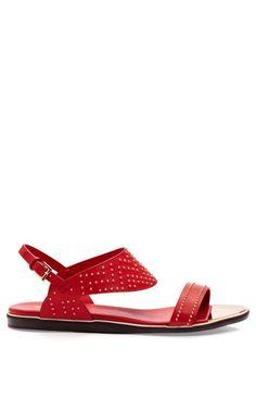 Studded Red Calf Flat Sandal by Nicholas Kirkwood