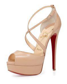 Christian Louboutin Cross Me Platform Red Sole Sandal, Nude, Size: 36B/6B