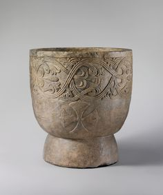 Baptismal Font Date: 1137 Geography: Made in probably Sicily, Calabria, Southern Italy Culture: South Italian Medium: Pentelic Marble Dimensions: Overall: 26 x 24 in. x 62 cm) rim thickness: 1 in. Italy Culture, John The Evangelist, Best Barns, Early Middle Ages, Medieval Art, Medieval Crafts, The Monks, Southern Italy, Effigy