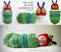 Hungry caterpillar baby cuteness hat and snuggle sack.