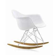 """Vitra Eames RAR Rocking Chair Chair by Charles & Ray Eames. The Eames RAR Plastic Rocking Chair was first presented as part of the famed New York Museum of Modern Art competition, """"Low Cost Furniture Design""""."""