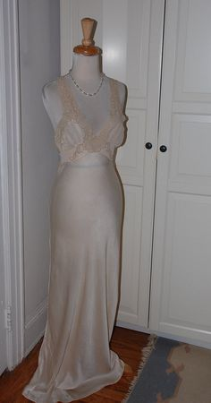30s Nightgown Lingerie Negligee Ivory Silk by fourstoryvintage
