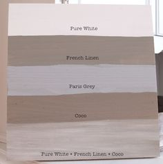 I also painted a swatch of Paris Grey for comparison. As you can {hopefully} see, Paris Grey is a much cooler gray than French Linen, which is a beautiful, warm, taupe gray. The swatch at the very bottom is a quick and dirty weathered/driftwood effect that you can get with Pure White, French Linen, and CoCo.