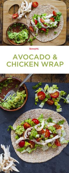 Rich, buttery avocado teams up with tender chicken! Simple and scrumptious, this… Rich, buttery avocado teams up with tender chicken! Simple and scrumptious, this avocado & chicken wrap recipe is your go-to on busy days. Good Healthy Recipes, Healthy Foods To Eat, Diet Recipes, Healthy Snacks, Healthy Eating, Healthy Dinners, Diet Tips, Healthy Drinks, Cooker Recipes